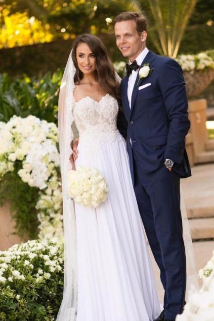 Simple wedding dress with lace | Chiffon wedding dresses