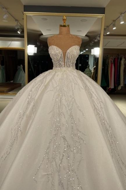 Extravagnate Brautkleider Online | Hochzeitskleider Glitzer Prinzessin