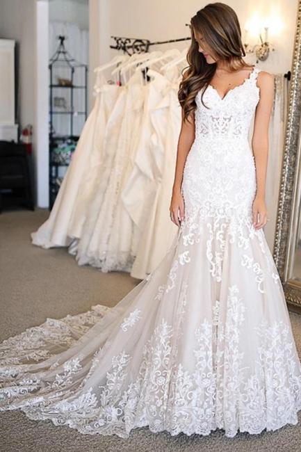 Elegante Hochzeitskleider Meerjungfrau Spitze   Brautkleider Online Kaufen