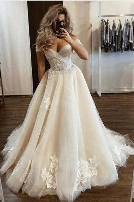 Designer Hochzeitskleider Cream | Brautkleider A Linie mit Spitze