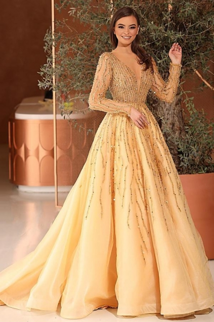 Extravagant evening dresses with sleeves | Prom dresses long glitter cheap