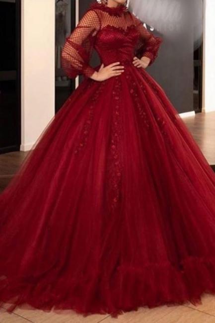 Rote Ballkleider Abiballkleider Lang | Abendkleider mit Ärmel