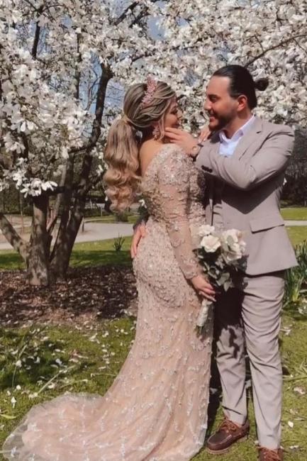 Champagne wedding dresses mermaid | Wedding dresses with sleeves