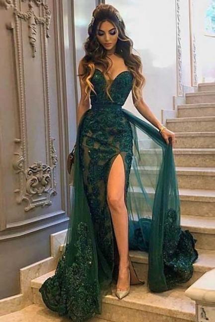 Abendkleider Lang Dunkel Grün | Abiballkleider Spitze