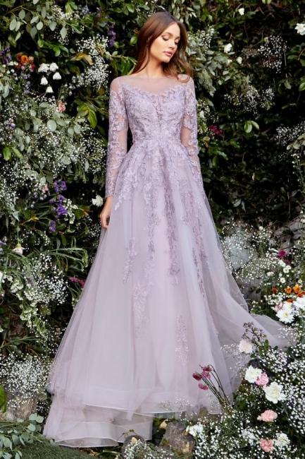 Lavender Evening Dresses With Sleeves | Prom dresses with lace