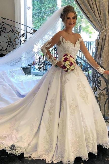Schöne Brautkleider mit Ärmel | Hochzeitskleider A Linie Spitze