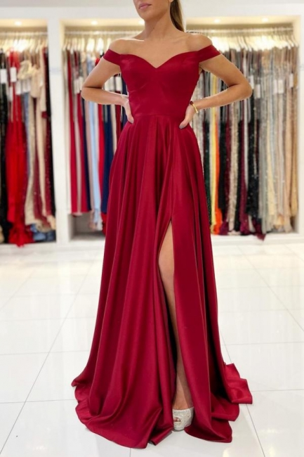 Simple evening dress long red | Prom dresses cheap