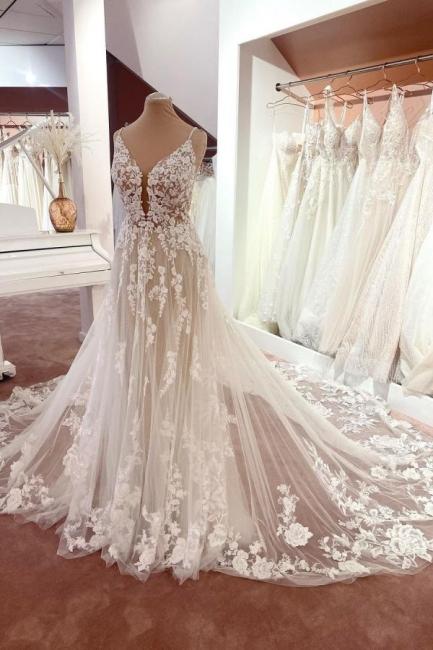 Wunderschöne Brautkleider A Linie Spitze | Hochzeitskleider Günstig Online