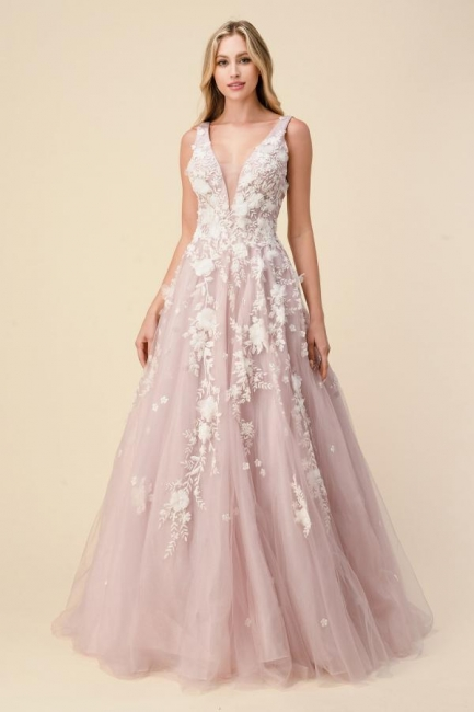 Pink Evening Dress Long V Neck | Prom dresses with lace