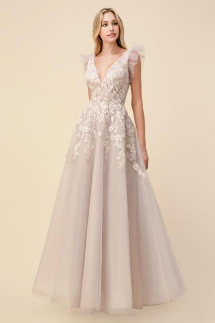 Beautiful evening dress long V neckline | Prom dresses evening wear online