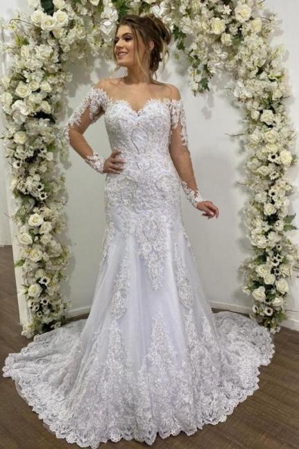 Beauty Mermaid Lace Wedding Dresses Long Sleeve Bridal Gowns