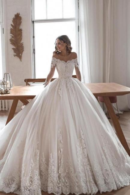 Designer Brautkleider Mit Ärmel | Hochzeitskleider A Linie Spitze