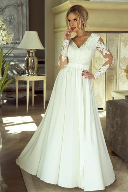 Schlichtes Brautkleider Mit Ärmel | Hochzeitskleider mit Spitze