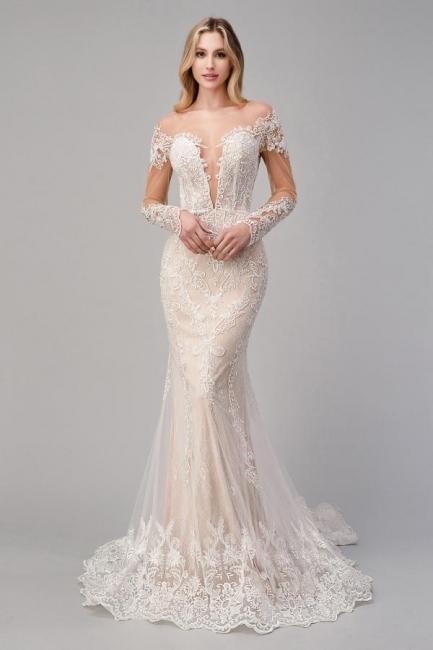 Champagne Brautkleider Spitze | Hochzeitskleider Meerjungfrau mit Ärmel