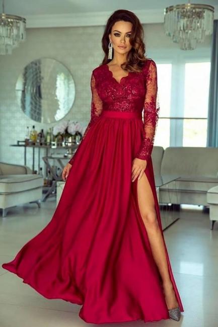Abendkleid Lang Rot | Abiballkleider mit Ärmel