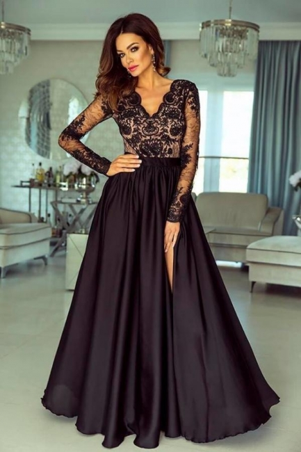 Evening dresses long black | Prom dresses with sleeves