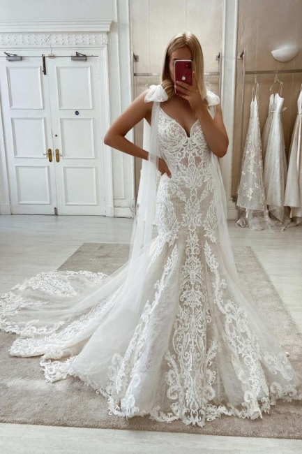 Sheer Lace Mermaid Wedding Dresses   Backless Boho Wedding Gowns