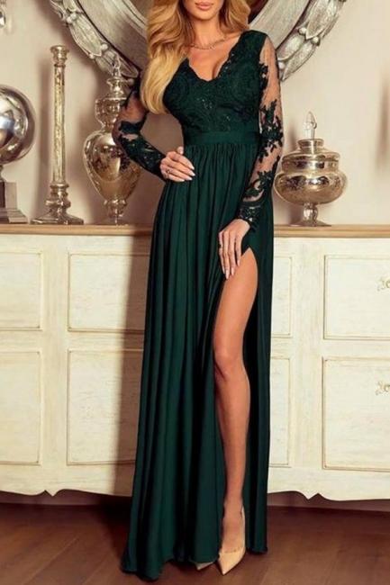 Designer Abendkleider Dunkel Grün | Abiballkleider mit Ärmel