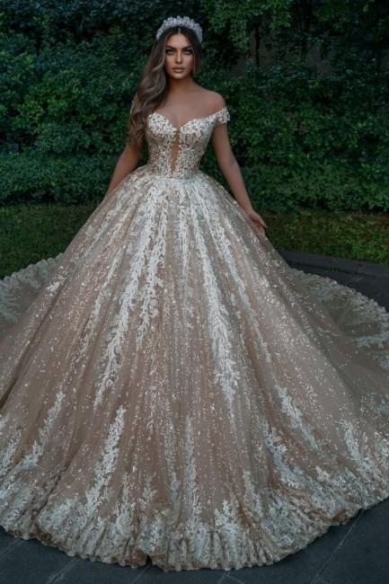 Designer wedding dresses princess glitter | Wedding dresses with lace online