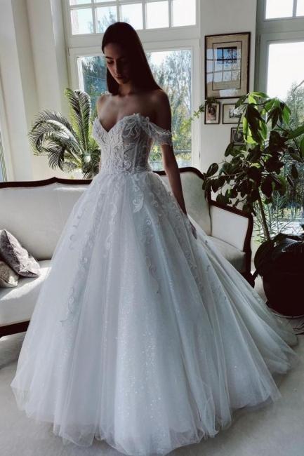 Designer wedding dresses with glitter   A line wedding dresses lace