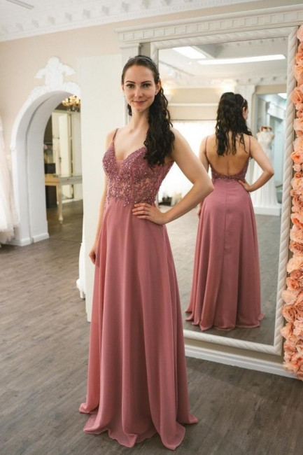 Simple Pink Prom Dresses   Cheap Evening Gowns