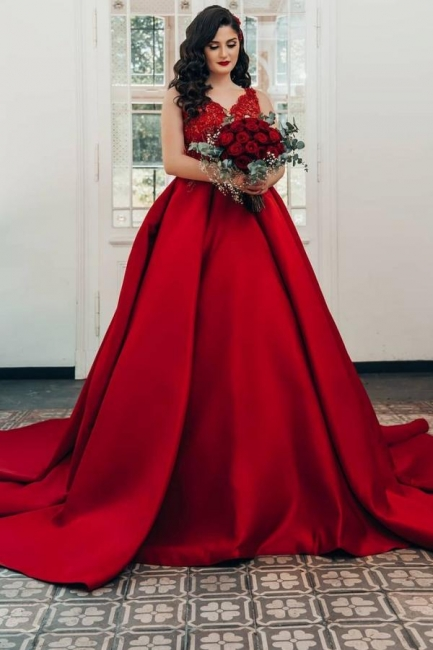 Red wedding dresses princess   Wedding dresses with lace