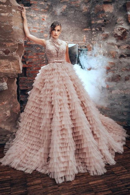 Blush Pink Wedding Dresses A Line | Luxury wedding dresses with lace