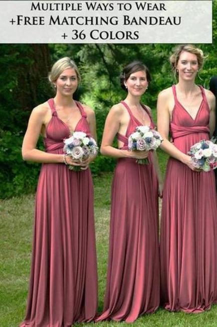 Wandelbare Brautjungfernkleider Weinrot   Kleider Für Brautjungfern