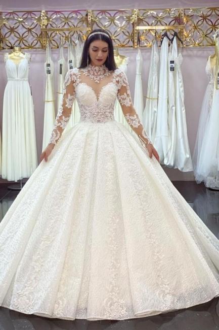 Elegant Wedding Dresses A Line Lace | Wedding dresses with sleeves