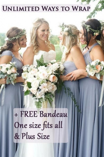 Wandelbare Brautjungfernkleider Lang | Brautjungfernkleid Blau Günstig
