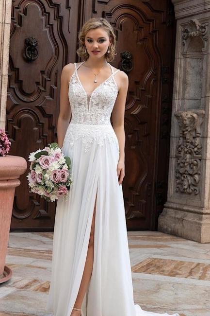 Schlichtes Brautkleid Mit Spitze | Chiffon Hochzeitskleider Günstig