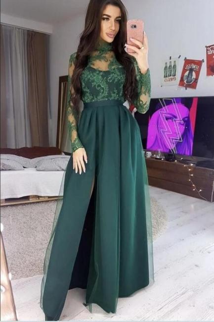 Elegante Abendkleider Lang Grün   Abiballkleider mit Ärmel