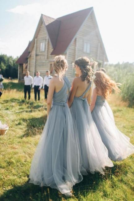 Wandelbare Brautjungfernkleider Lang   Blaues Brautjungfernkleid Günstig