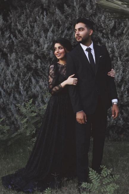Schwarze Hochzeitskleider A Linie Spitze | Brautkleider Mit Ärmel
