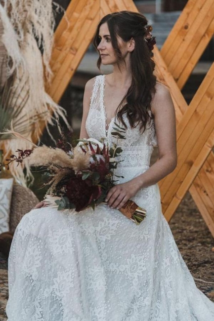 Simple wedding dress lace | Boho wedding dresses online