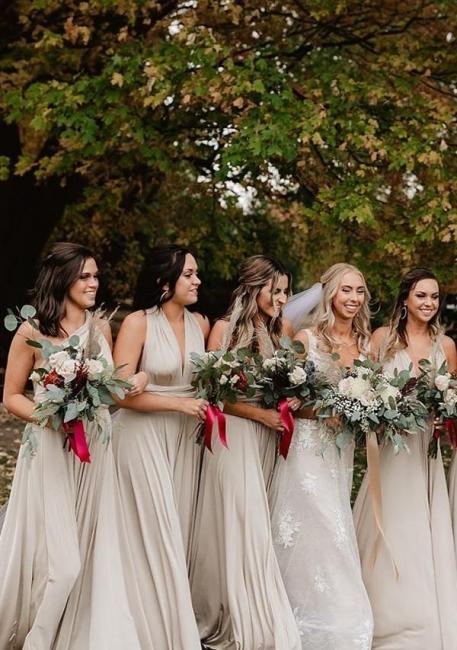 Bridesmaid Dresses Long Apricot | Convertible bridesmaid dress online