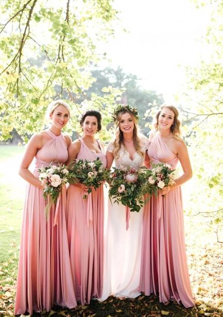 Günstige Brautjungfernkleider Altrosa | Brautjungfernkleid Lang Wandelbar