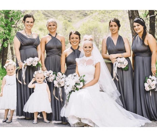 Brautjungfernkleider Lang Grau | Wandelbares Brautjungfernkleid Günstig