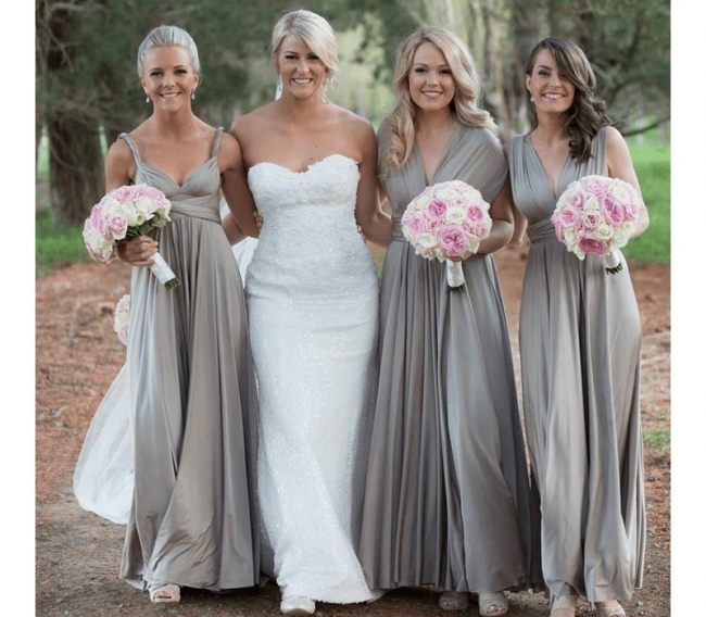Silber Brautjungfernkleider Lang Günstig | Kleider Für Brautjungfern Online