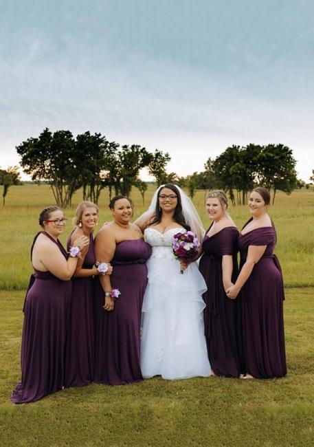 Burgundy Brautjungfernkleider Lang Günstig | Wandelbare Brautjungfernkleid