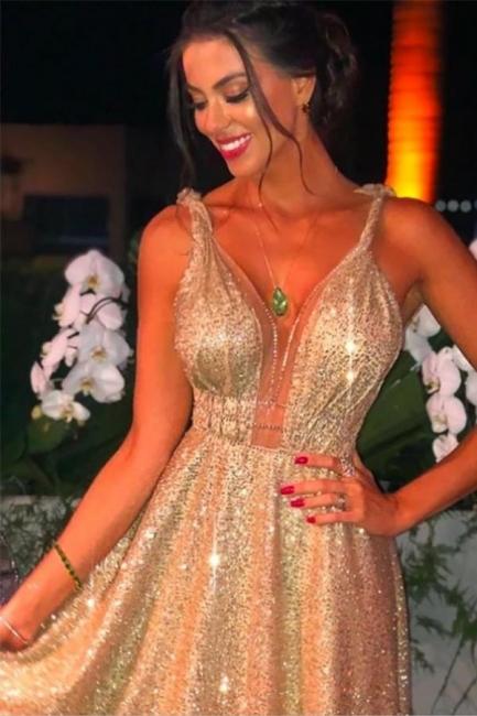 Gold Abendkleider Lang Glitzer   Abiballkleider Günstig Online
