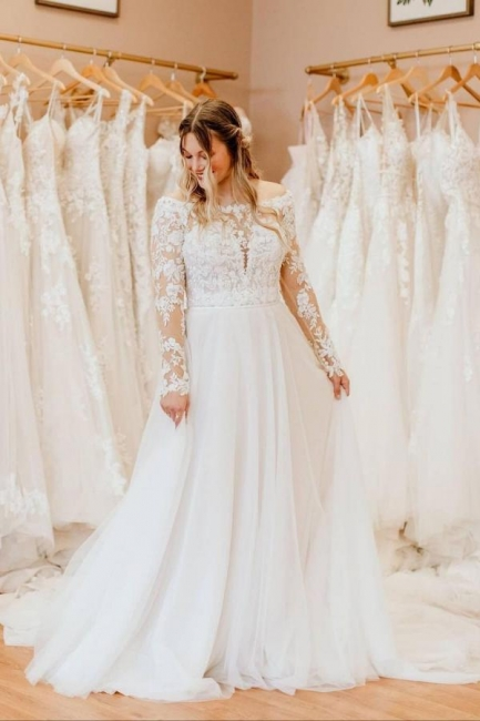 Simple wedding dress with lace   Wedding dresses long sleeves