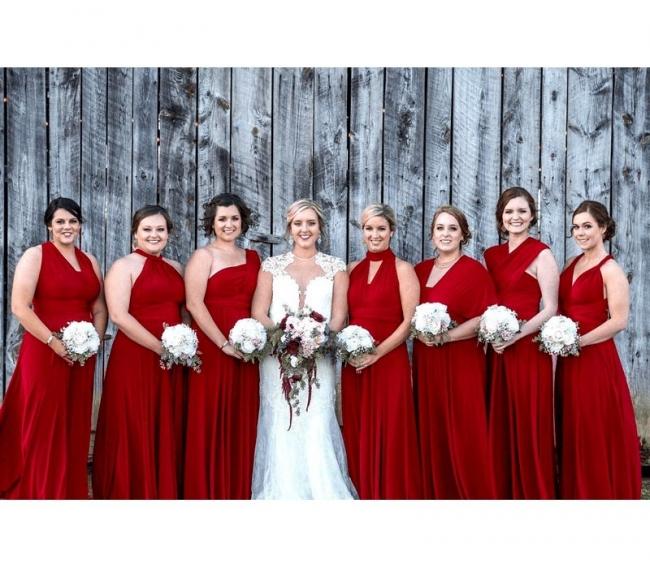 Designer Brautjungfernkleider Weinrot | Wandelbares Brautjungfernkleid Lang