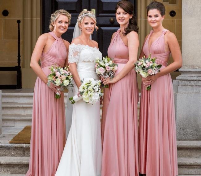 Günstige Brautjungfernkleider Lang Rosa   Kleider Brautjungfern