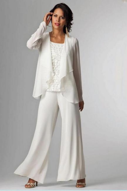 Weiße Brautmutterkleider mit Jacket | 2 Teilige Kleider Für Brautmutter