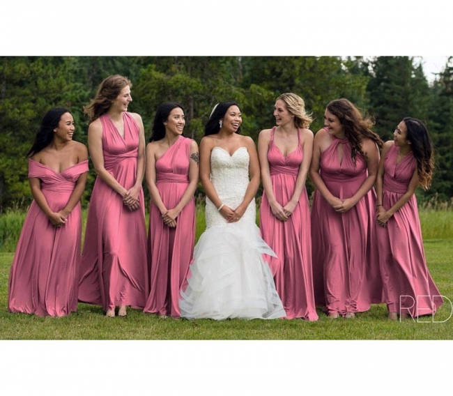 Brautjungfernkleider Lang Altrosa | Günstiges Brautjungfernkleid Wandelbar