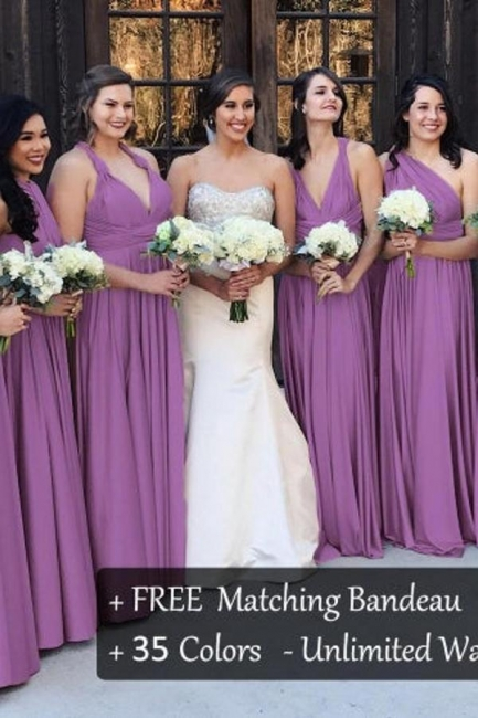Lavender Brautjungfernkleider Lang   Wandelbares Brautjungfernkleid Günstig
