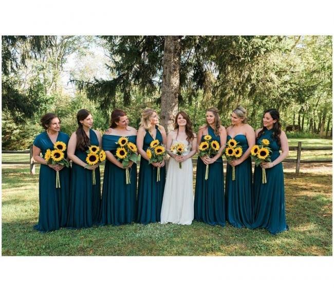 Long bridesmaid dresses dark green | Convertible bridesmaid dress