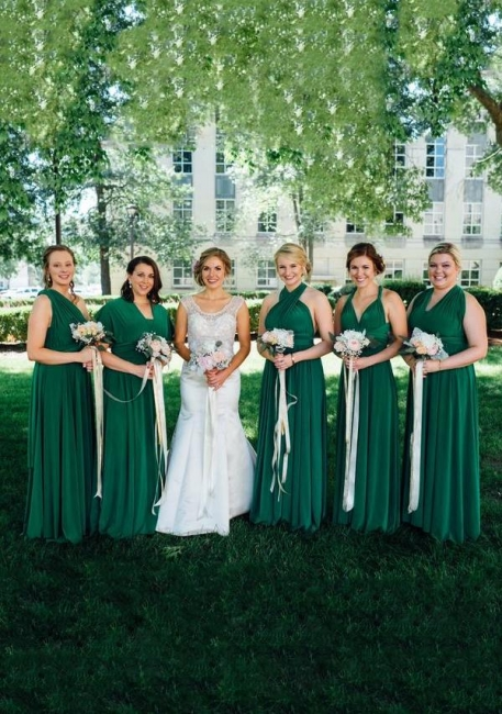 Brautjungfernkleider Grün Lang | Wandelbares Brautjungfernkleid Günstig