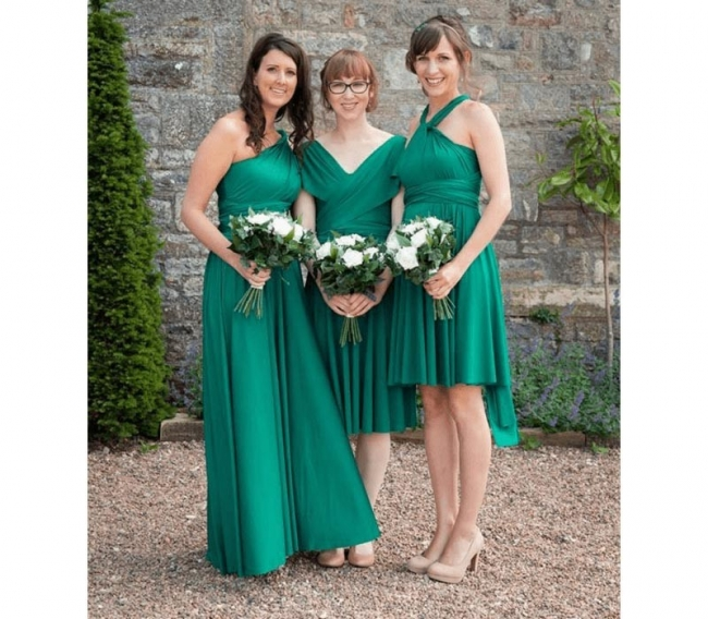 Brautjungfernkleider Grün Kurz   Wandelbares Brautjungfernkleid Günstig